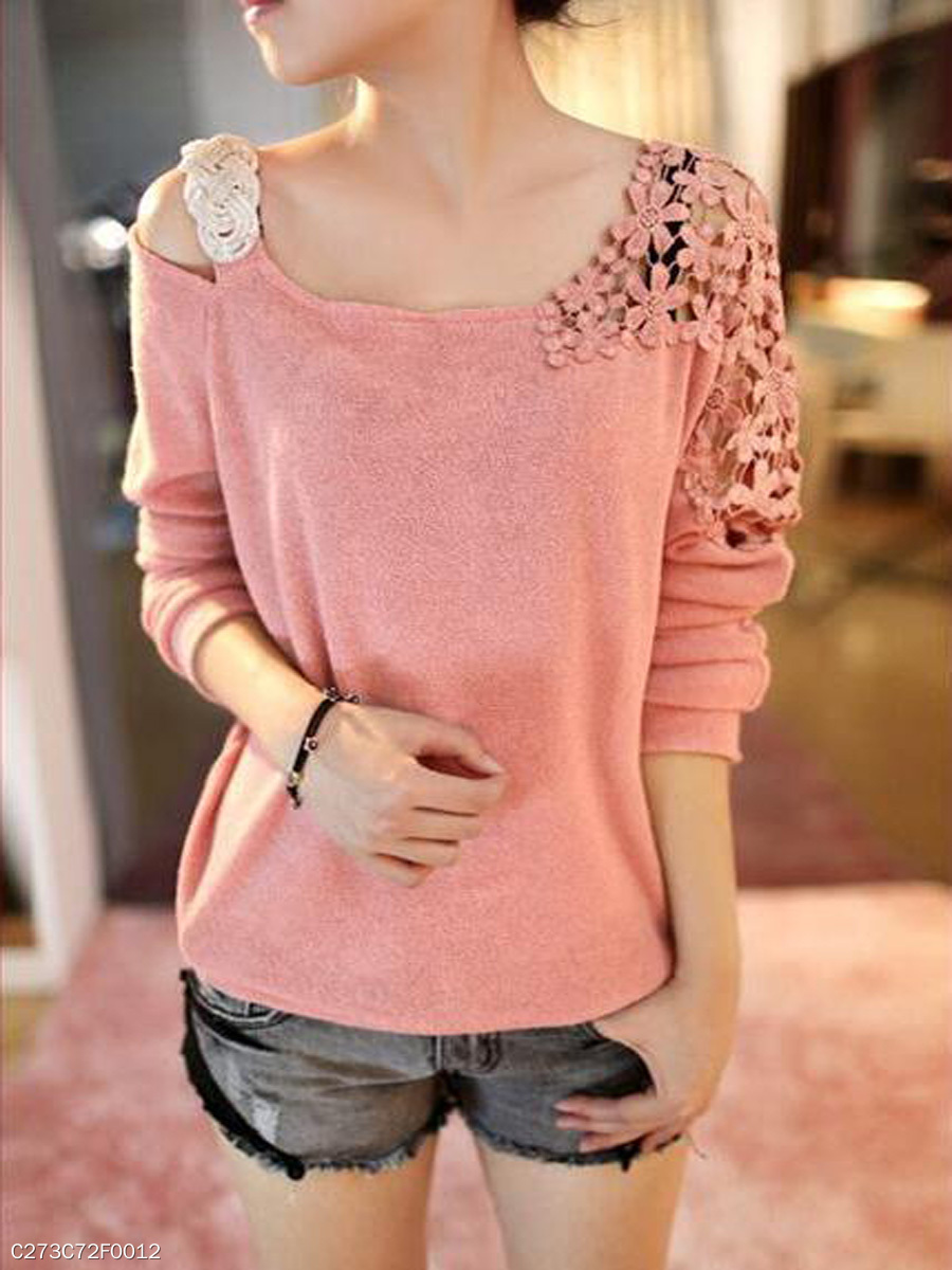 Open Shoulder  Decorative Lace  Plain  Long Sleeve Sweaters
