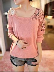 Round-Neck-Decorative-Lace-Plain-Sweaters