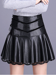 Black PU Leather Ruffled Hem A-Line Mini Skirt
