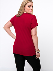 Trendy Lipstick Kiss Printed Plus Size T-Shirt
