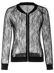 Lace-See-Through-Zips-Plain-Jacket
