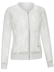 Lace See-Through Zips Plain Jacket