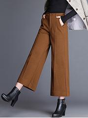 Solid-Pocket-Woolen-Wide-Leg-Cropped-Pants