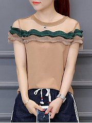 Summer  Polyester  Women  Round Neck  Patchwork See-Through  Plain  Short Sleeve Blouses