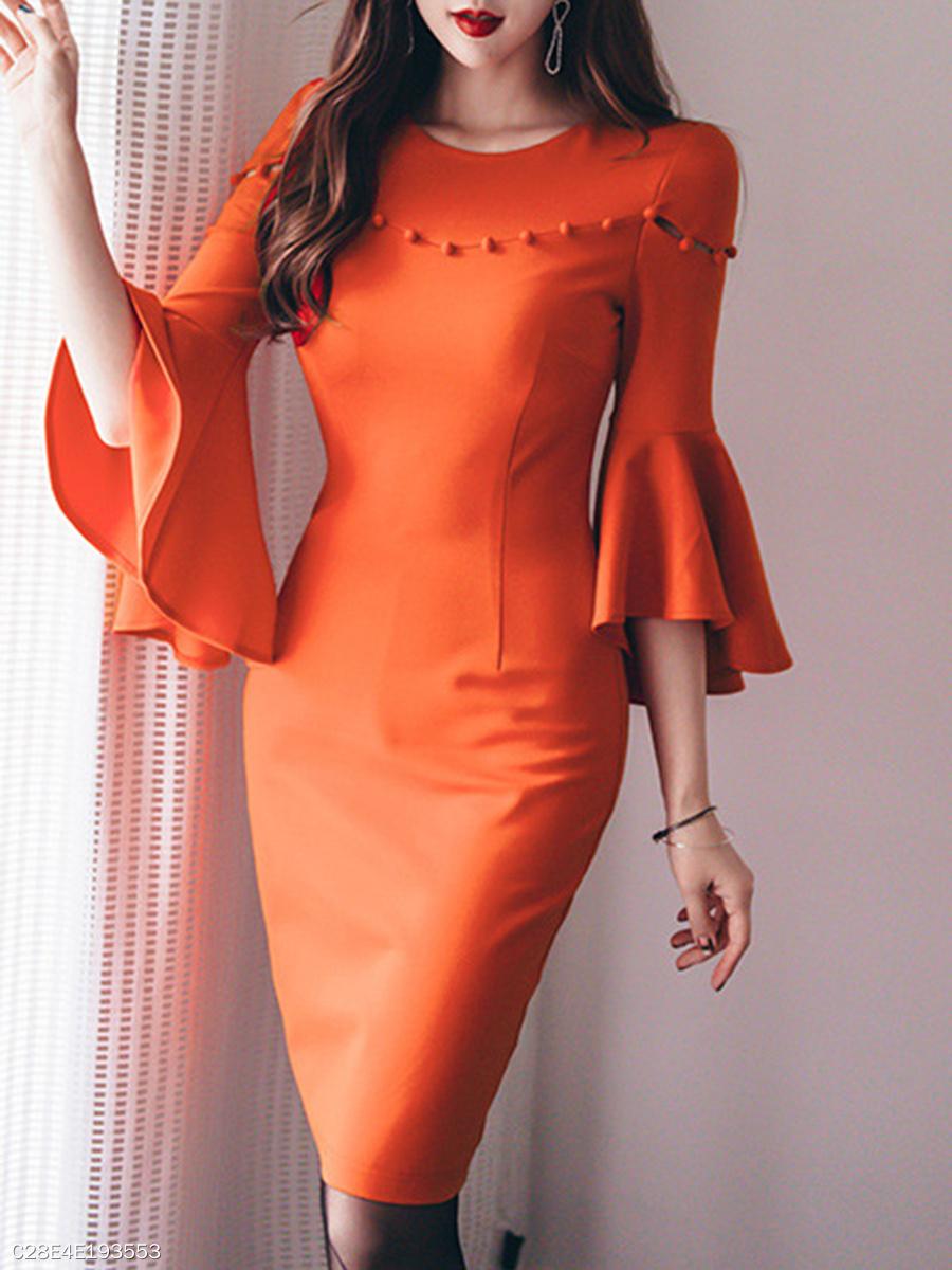 Round Neck Plain Bodycon Dress - fashionMia.com 782e6379b186