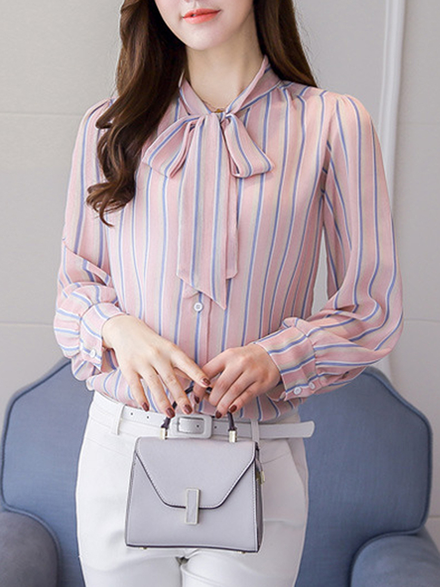 Tie Collar Vertical Striped Long Sleeve T-Shirt