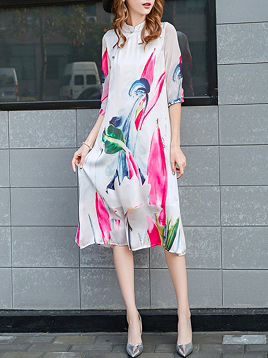 Band Collar Abstract Print Loose Maxi Dress