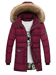 Hooded  Flap Pocket  Quilted Men Padded Coat