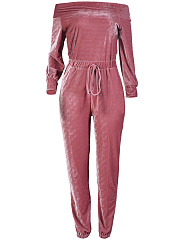 Off-Shoulder-Drawstring-Pocket-Plain-Velvet-Slim-Leg-Jumpsuit
