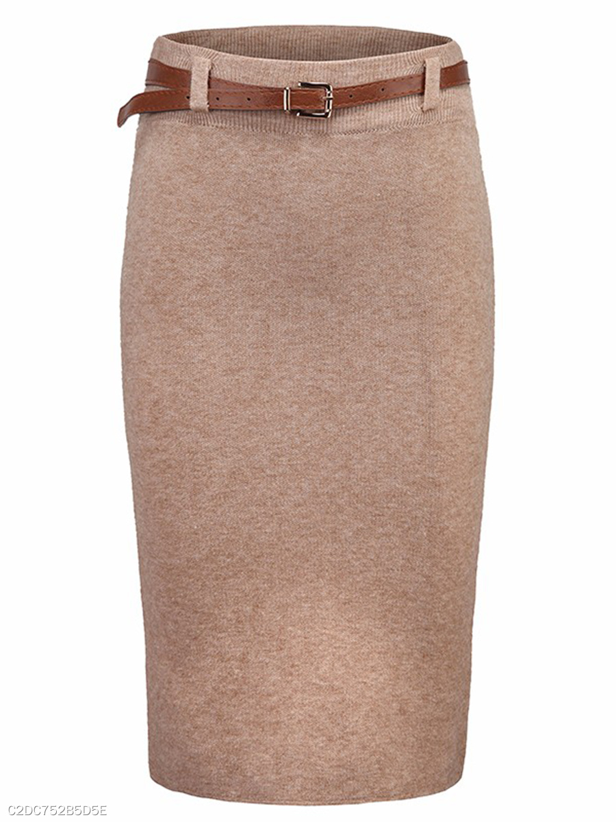 Solid Slit Knitted Pencil Midi Skirt