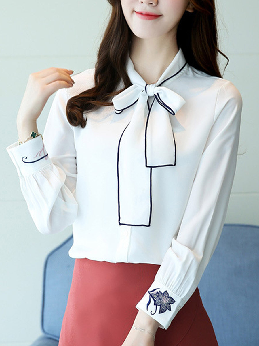 Tie Collar Contrast Trim Bowknot Long Sleeve T-Shirt
