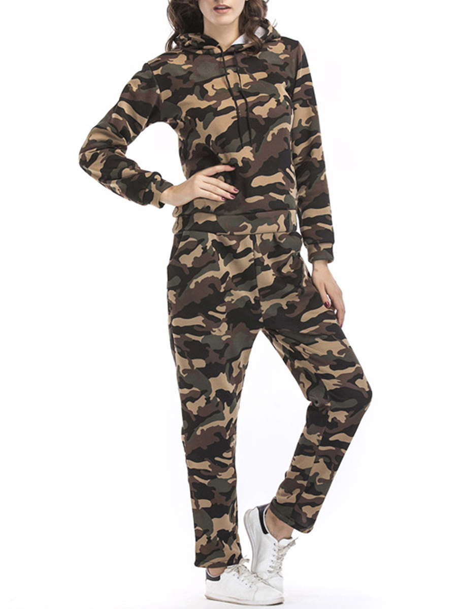 Camouflage Hoodie And Pocket Slim-Leg Pants