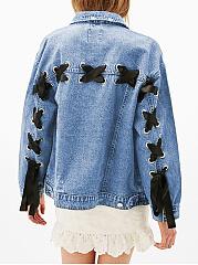 Lapel-Denim-Flap-Pocket-Lace-Up-Light-Wash-Long-Sleeve-Jacket