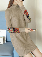 High-Neck-Decorative-Printed-Patch-Knitted-Dress