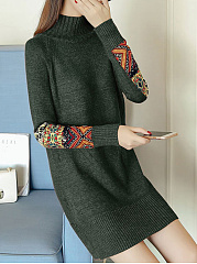 High Neck Decorative Printed Patch Knitted Dress