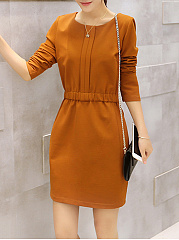 Round Neck Elastic Waist Pocket Plain Bodycon Dress
