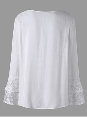 V-Neck  Lace Plain  Petal Sleeve  Long Sleeve Plus Size Blouses