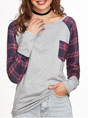 Round Neck  Loose Fitting Patchwork  Checkered Long Sleeve T-Shirts