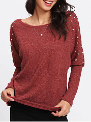 Round Neck  Beading  Plain  Long Sleeve Pullover