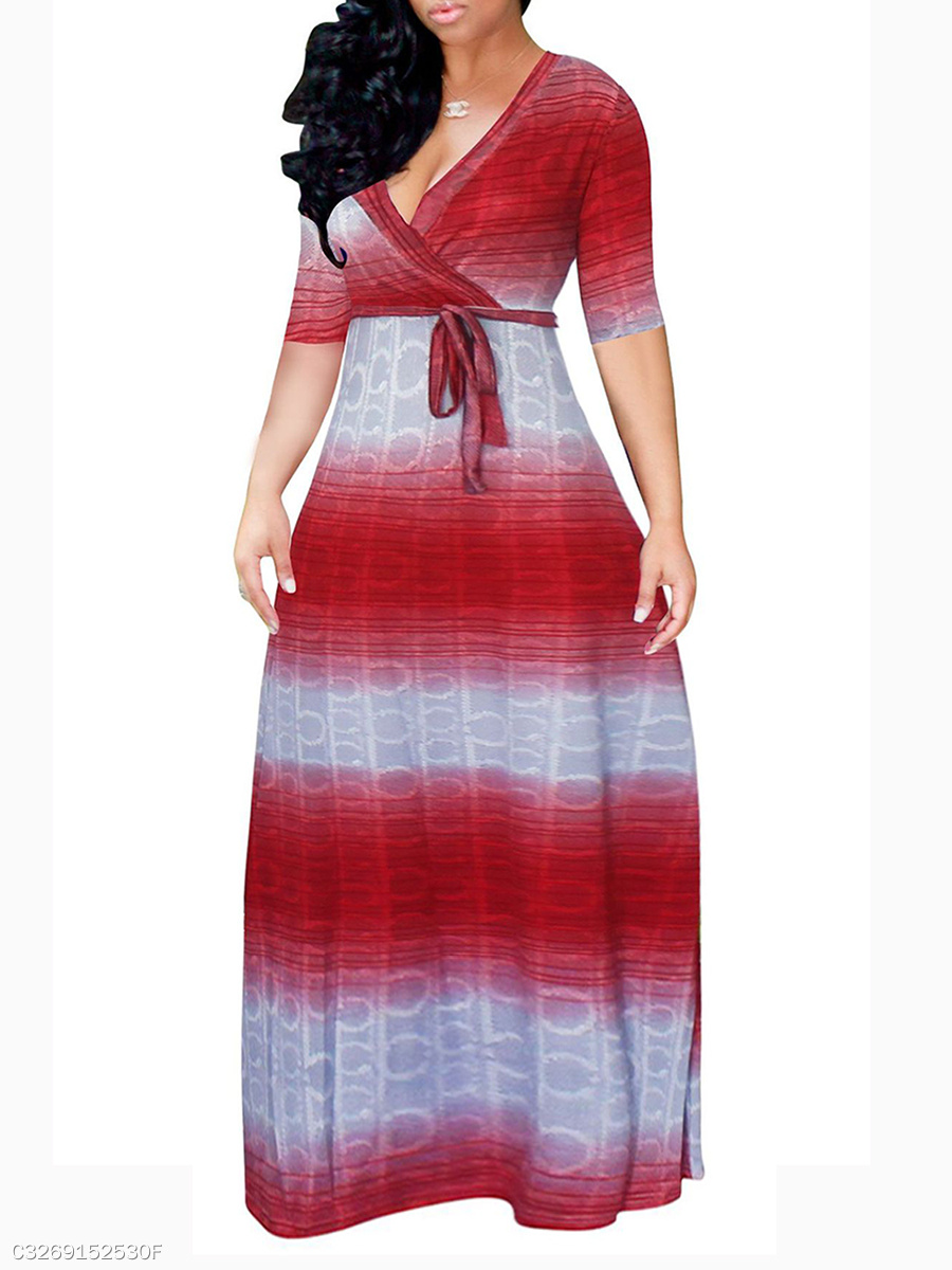 V-Neck  Abstract Print Plus Size Midi & Maxi Dresses