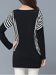 Round Neck Simple Striped Plus Size T-Shirt