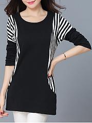 Round-Neck-Simple-Striped-Plus-Size-T-Shirt