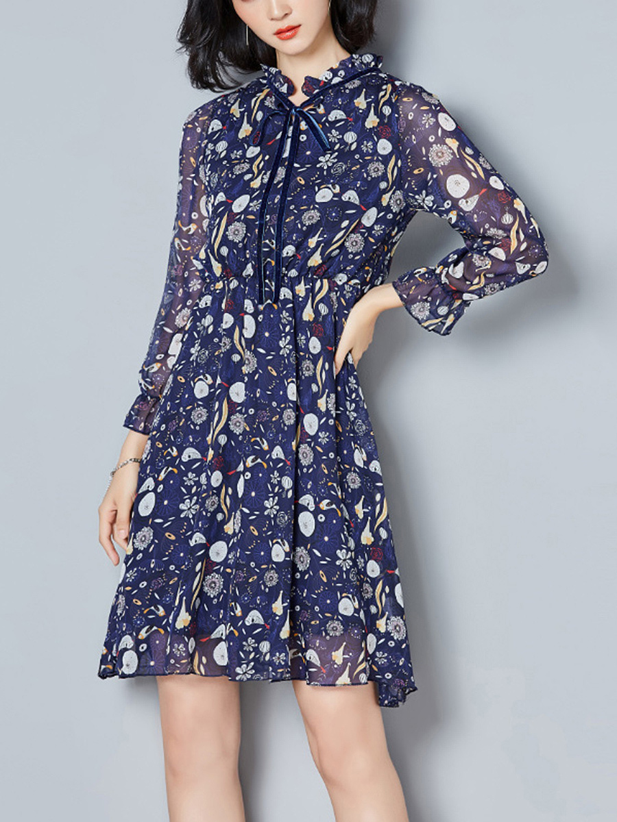 Tie Collar Printed Chiffon Hollow Out Skater Dress