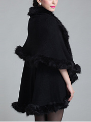 Faux Fur Collar Longline Cape Sleeve Coat