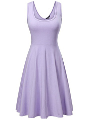 Casual Basic Round Neck Plain Sleeveless Skater Dress