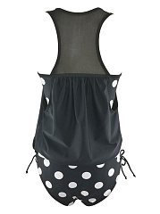 Asymmetric Neck  Hollow Out Polka Dot Swimwear