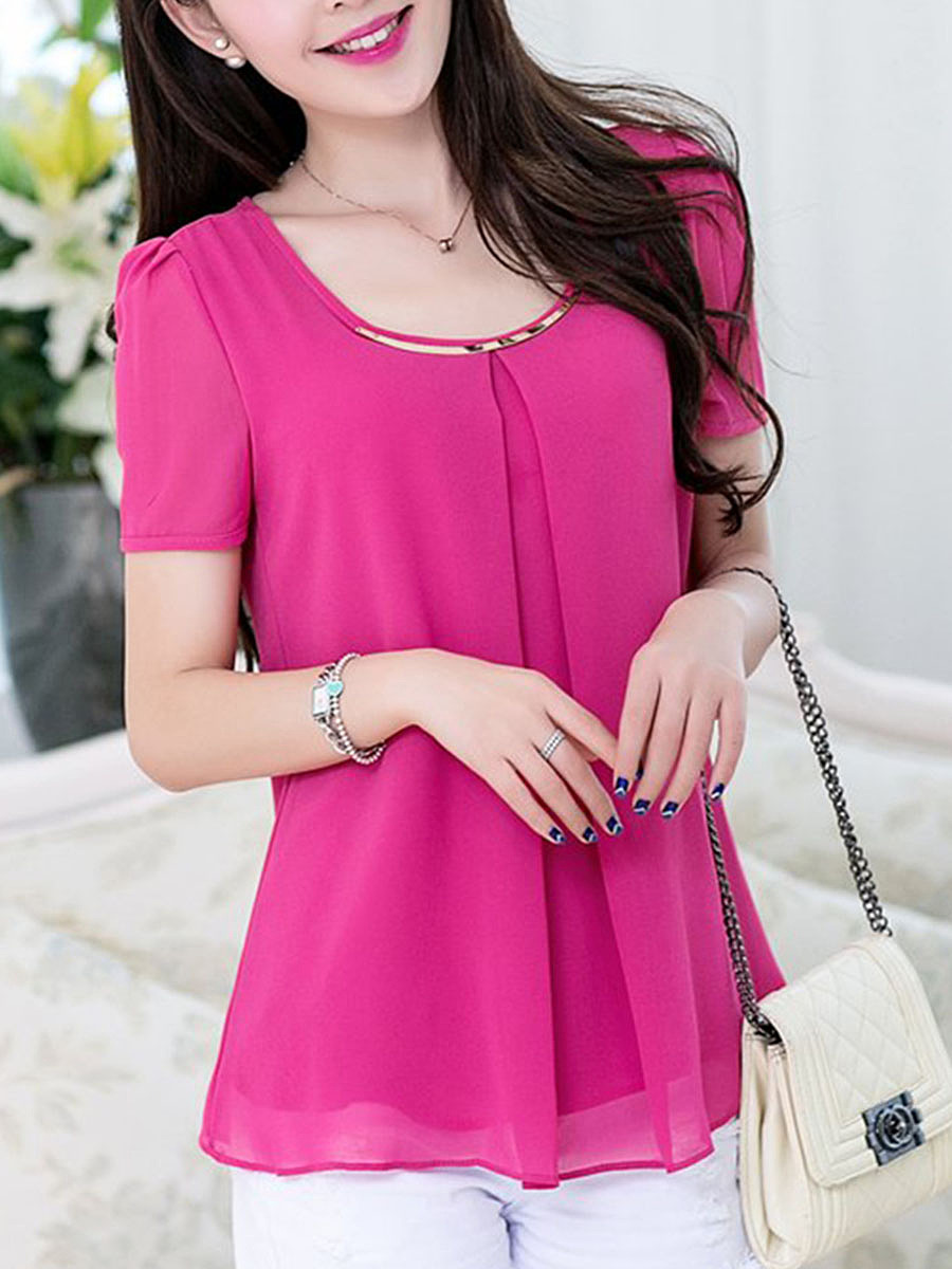 Solid Round Neck Chiffon Short Sleeve T-Shirt