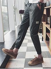 Mens-Casual-Plain-Flap-Pocket-Slim-Leg-Cargo-Pants
