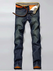 Light-Wash-Fleece-Lined-Straight-Mens-Jeans