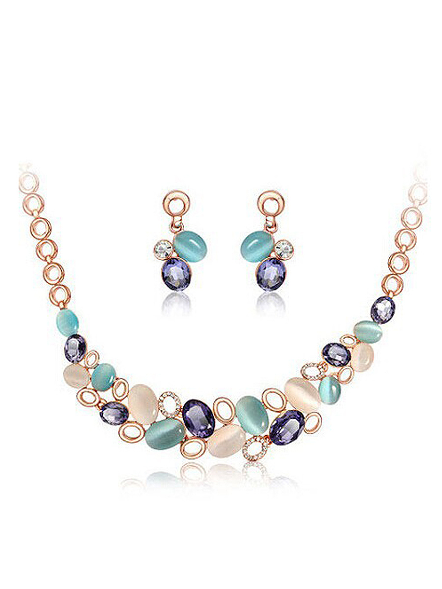 Multicolor Faux Stone Bib Necklace And Earring