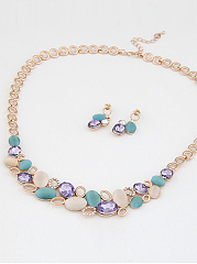Multicolor Faux Stone Bib Necklace And Earrings