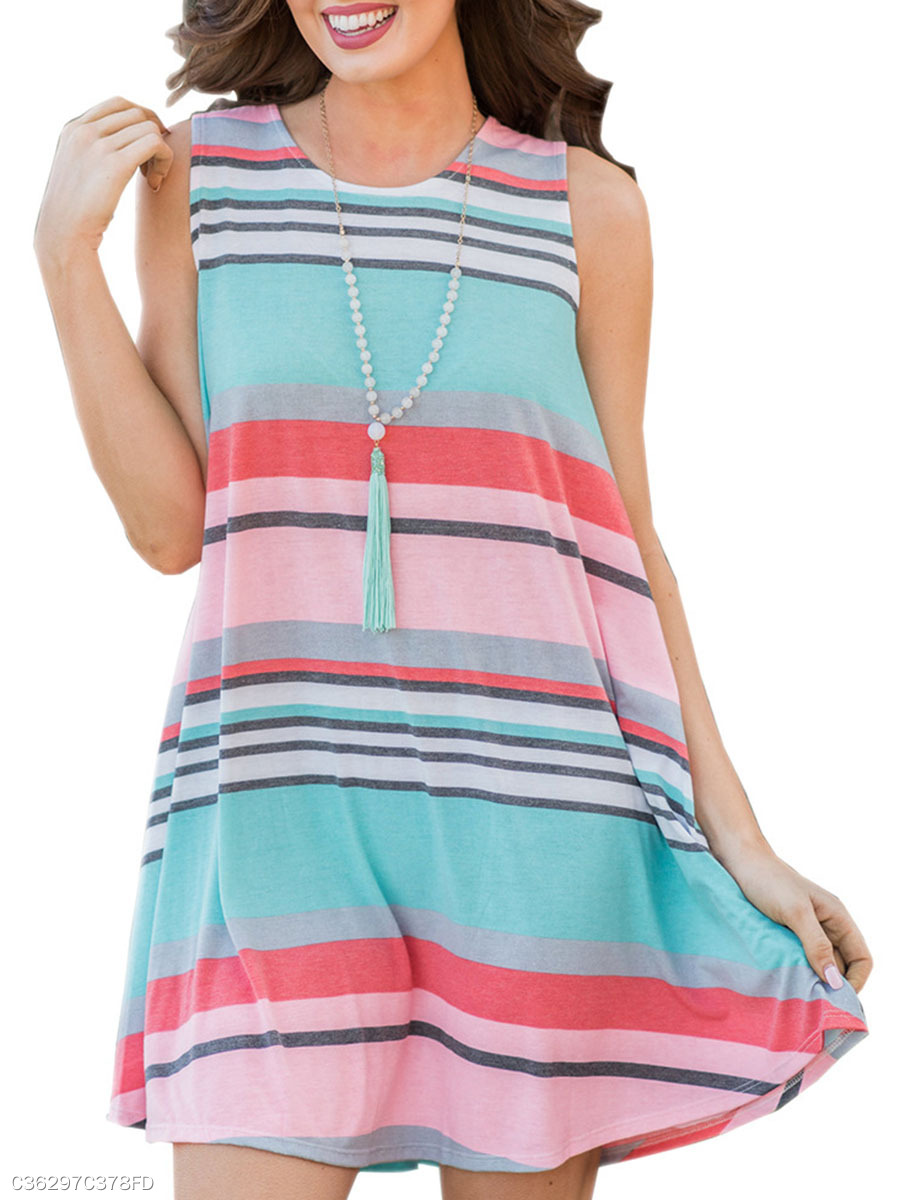 Round Neck  Contrast Piping  Color Block Striped Skater Dress