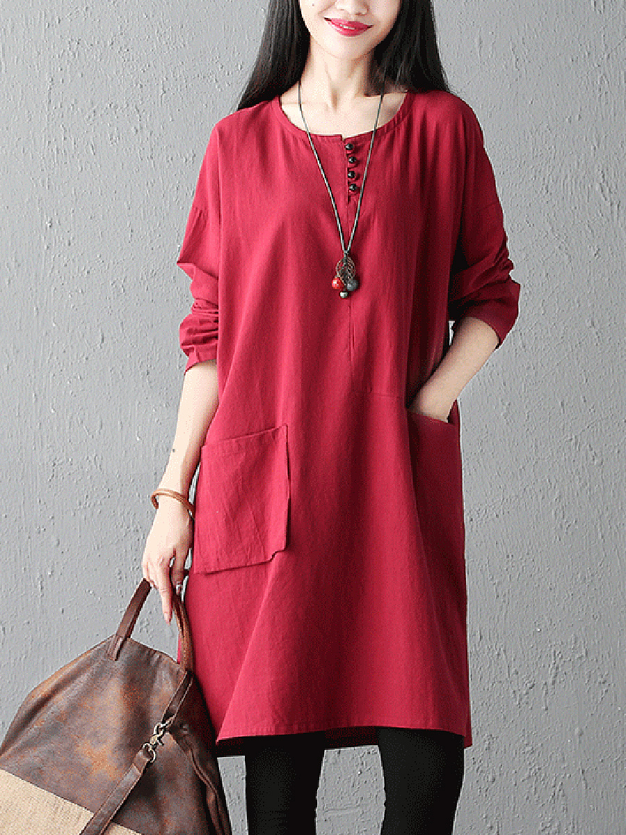 Round Neck  Patch Pocket  Plain  Cotton/Linen Shift Dress