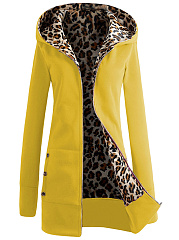 Hooded Leopard Fleece Lined Coat