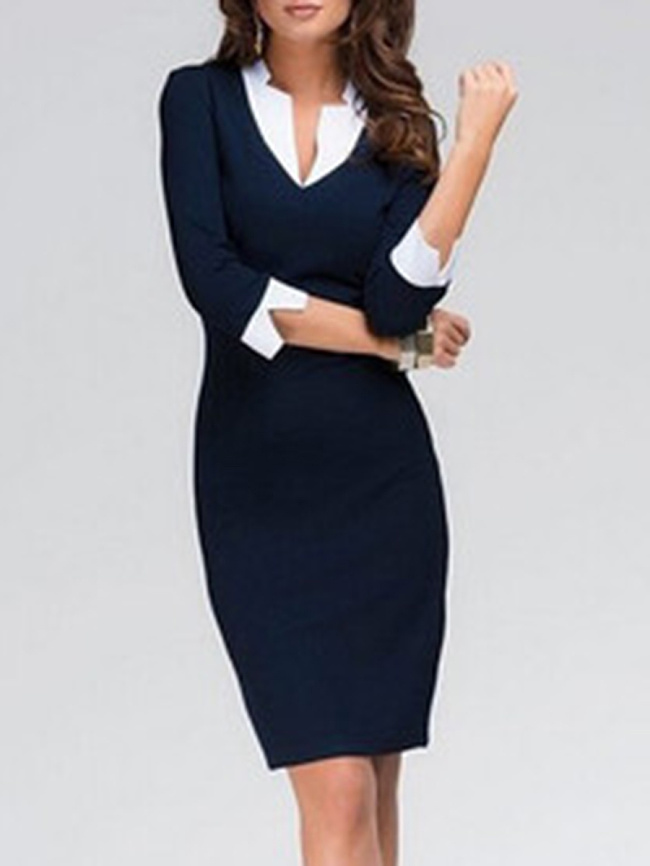 Image of Fashionmia Fold-Over Collar Plain Blend Bodycon Dress