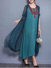 Round Neck Tassel Embroidery Hollow Out Maxi Dress