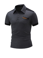 Classic Trendy Polo Collar Color Block T-Shirt