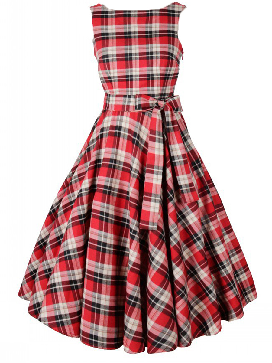 Classic Round Neck Bowknot Plaid Midi Skater Dress