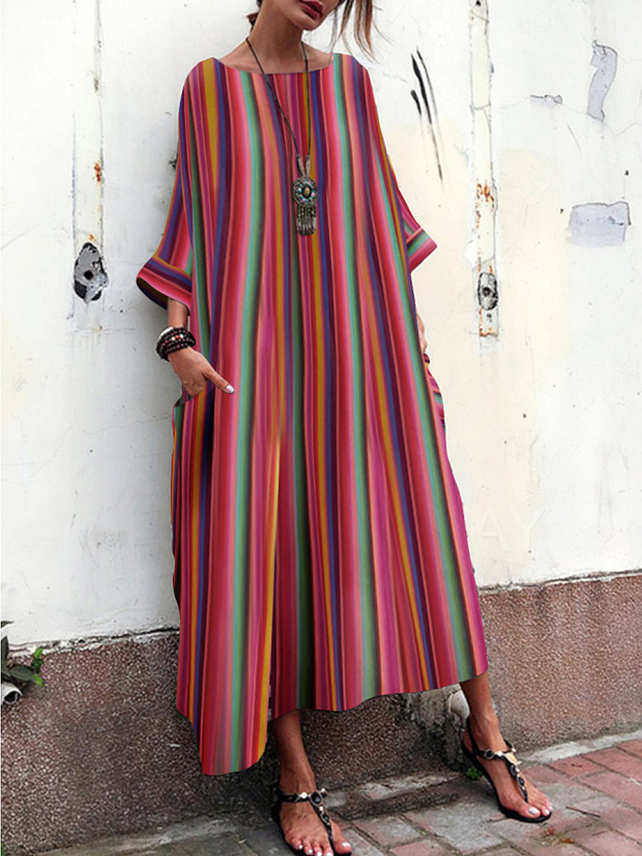 Bohemian Striped  Bell Sleeve Maxi Dress