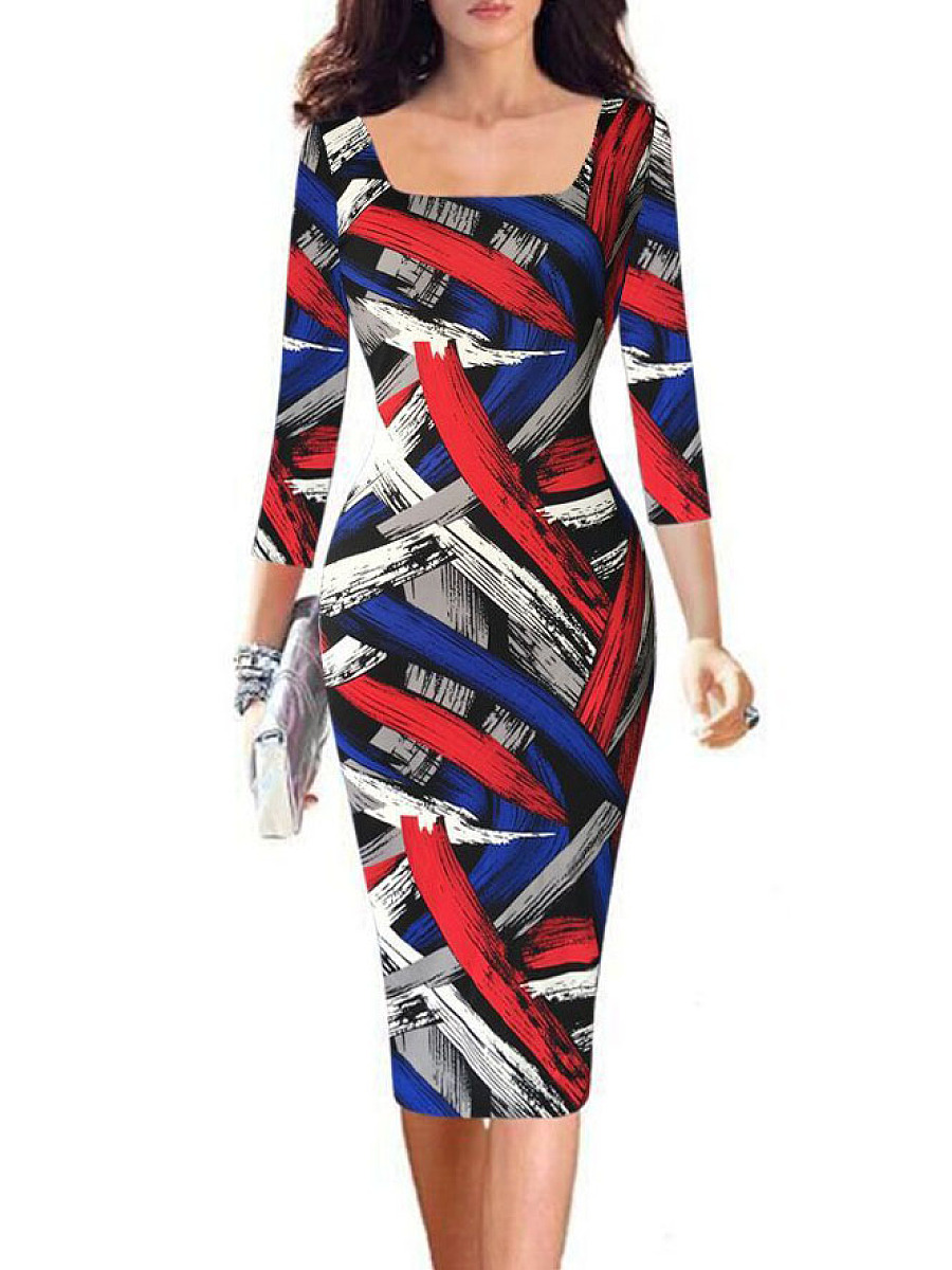 Square Neck  Abstract Print Bodycon Dress