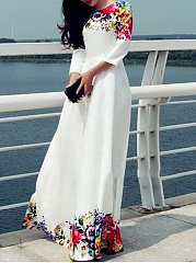 Round Neck  Floral  Polyester Evening Dresses