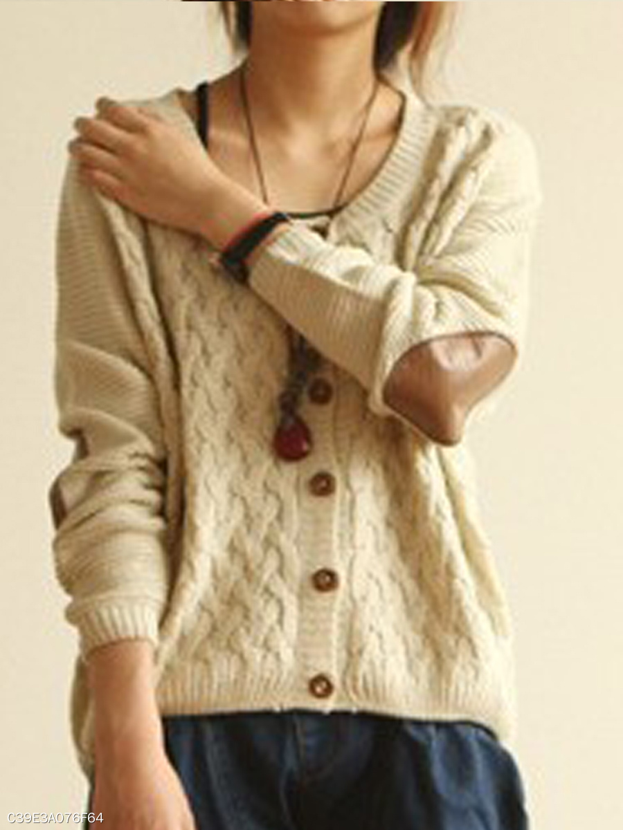 Single Breasted  Embossed Plain  Long Sleeve Cardigans