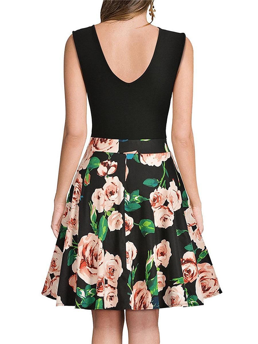 V-Neck  Floral Printed Skater Dress