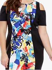 Round Neck  Patchwork  Abstract Print Plus Size Bodycon Dress