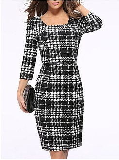 Square Neck  Plaid  Blend Bodycon Dress