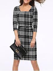... Square Neck Plaid Blend Bodycon Dress ...